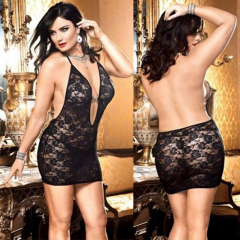 Plus Size Women's Black Deep Low Cut Sexy Lingerie